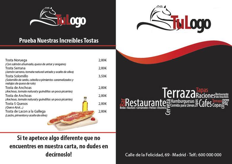 Descarga Plantilla Editable Carta Bar Restaurante A4 | Scribus